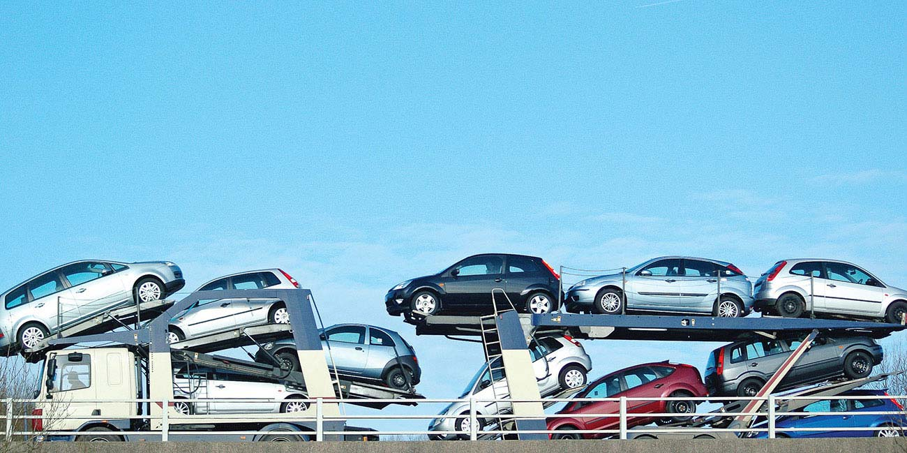 Cars on trailer