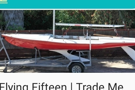 Sailing boat Flying fifteen on a trailer