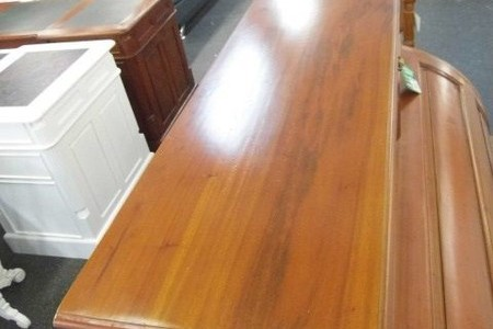 Roll top writing desk - antique re-production -mahogany wood