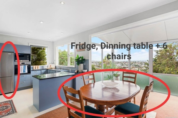 Fridge/Freezer, Dining Table, Six Dining Chairs, Two 2-seater couches,...