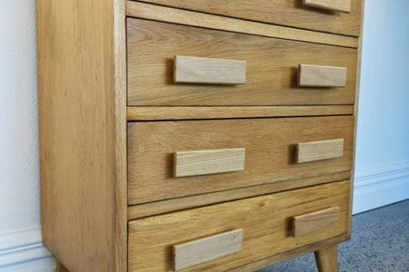 MID CENTURY TALL BOY DRAWERS- SOLID OAK, Drawers