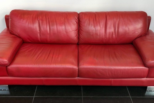 Leather Sofa Red - Commercial Grade