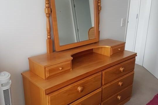 Queen base, Queen headboard, 2x Bedside tables, 2x beside lamps, Drawe...