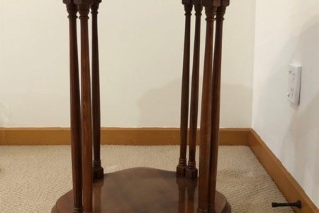 Mahogany / burr walnut wood side table