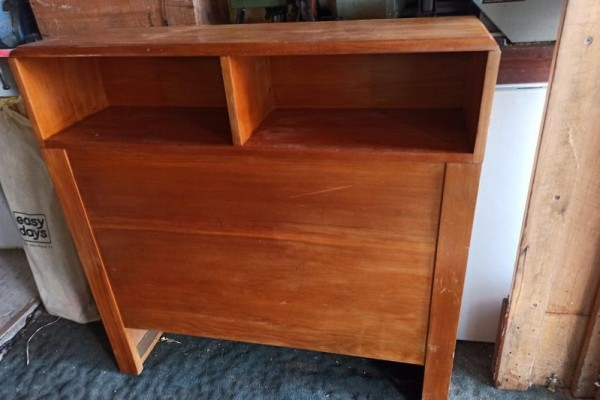 Single head board with shelf and drawers