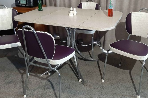 Fold down table and stackable dining chairs