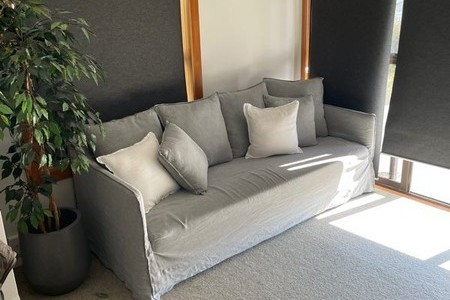 Beautiful grey linen couch