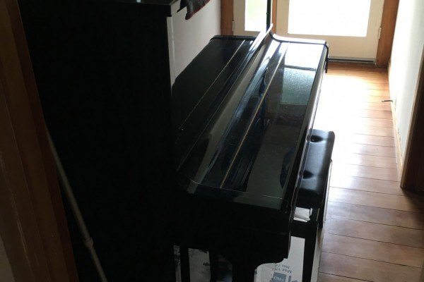 Normal piano with wheels. On wooden floor so don't want to damage fl...