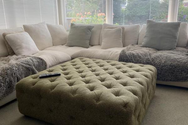 Fridge - large size, TV - 65 inches, King size single slat bed with ma...