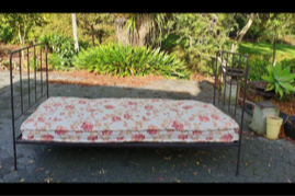 Day bed, wrought iron frame and mattress